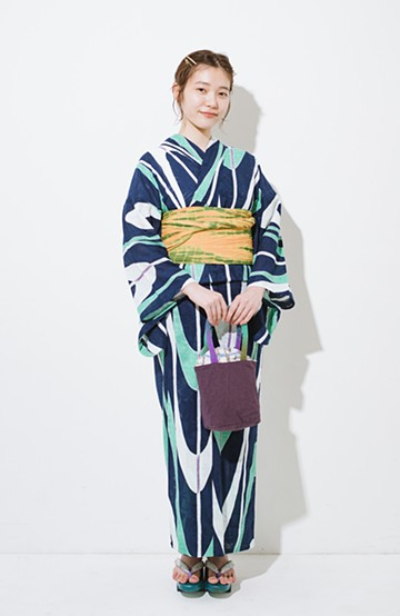 haco! ひでや工房 京都のからみ織ジャカード浴衣  <ネイビー>の商品写真
