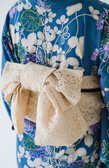 haco! ひでや工房 浴衣がぐっと華やぐオリジナルレース帯 <アイボリー>の商品写真