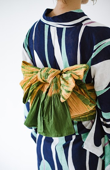 haco! ひでや工房 京都のへこ帯 伝統工芸士が作る巻上絞 <イエロー×グリーン>の商品写真