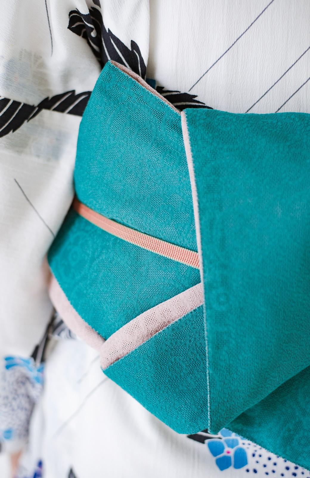 haco! ひでや工房 京都のからみ織ジャカードリバーシブル帯 <グリーン×ピンク>の商品写真12
