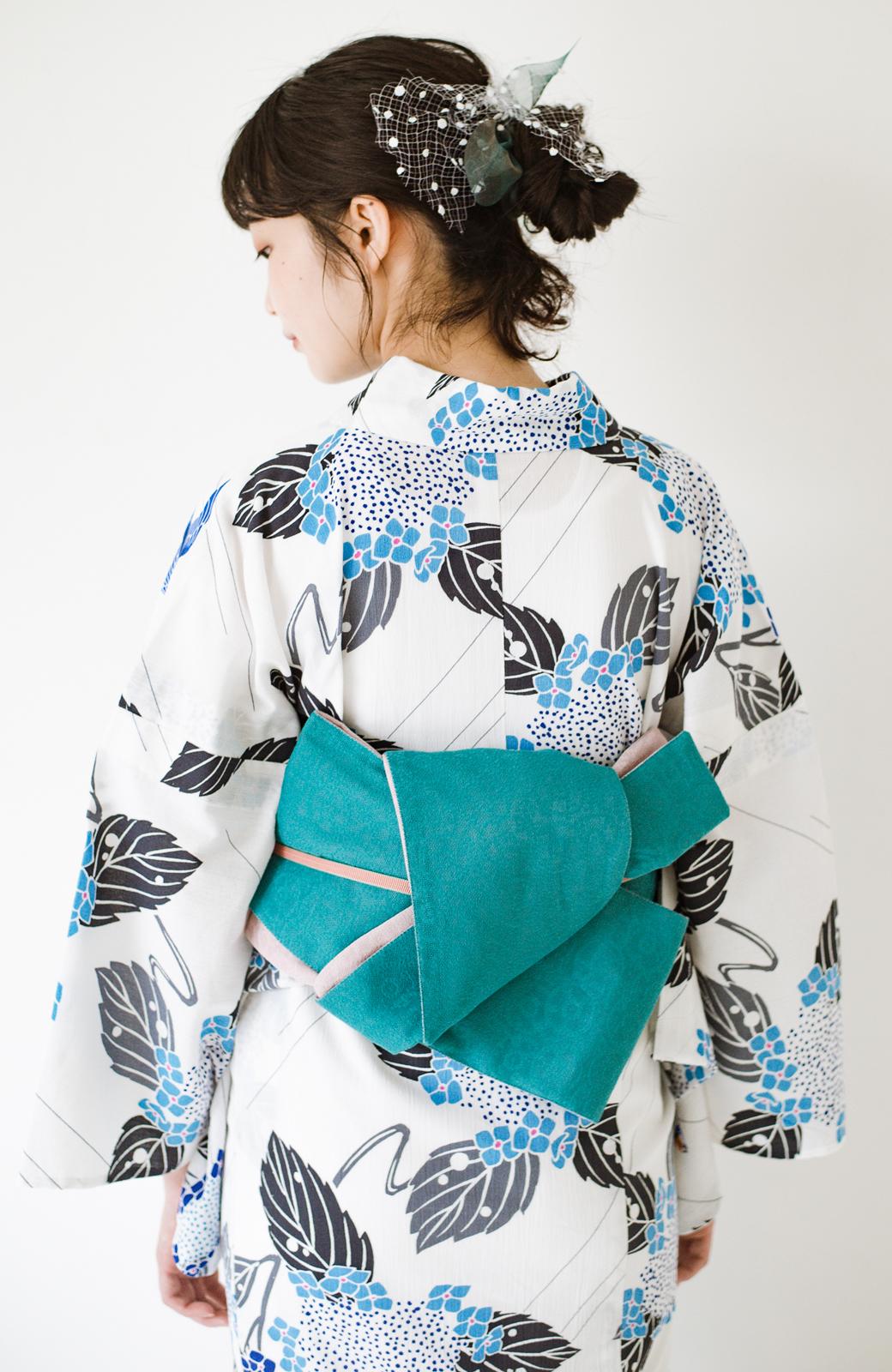 haco! ひでや工房 京都のからみ織ジャカードリバーシブル帯 <グリーン×ピンク>の商品写真1