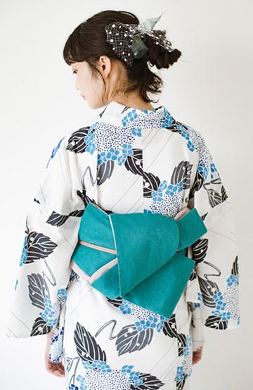 haco! ひでや工房 京都のからみ織ジャカードリバーシブル帯 <グリーン×ピンク>の商品写真