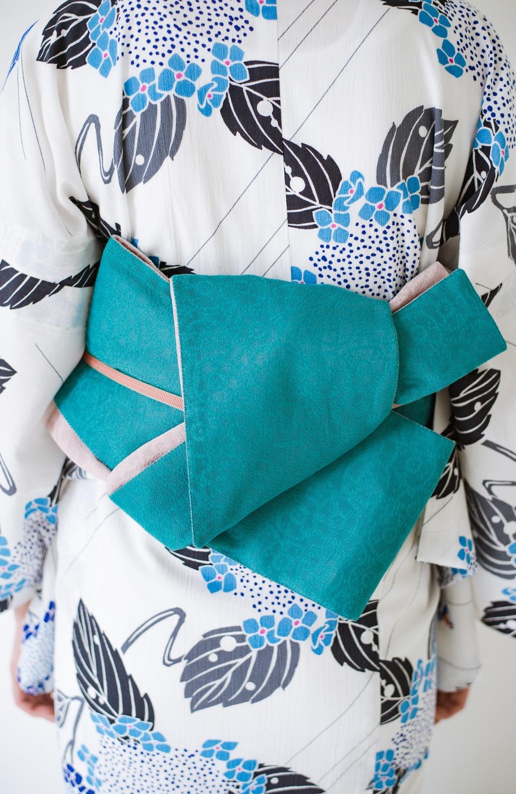 haco! ひでや工房 京都のからみ織ジャカードリバーシブル帯 <グリーン×ピンク>の商品写真3