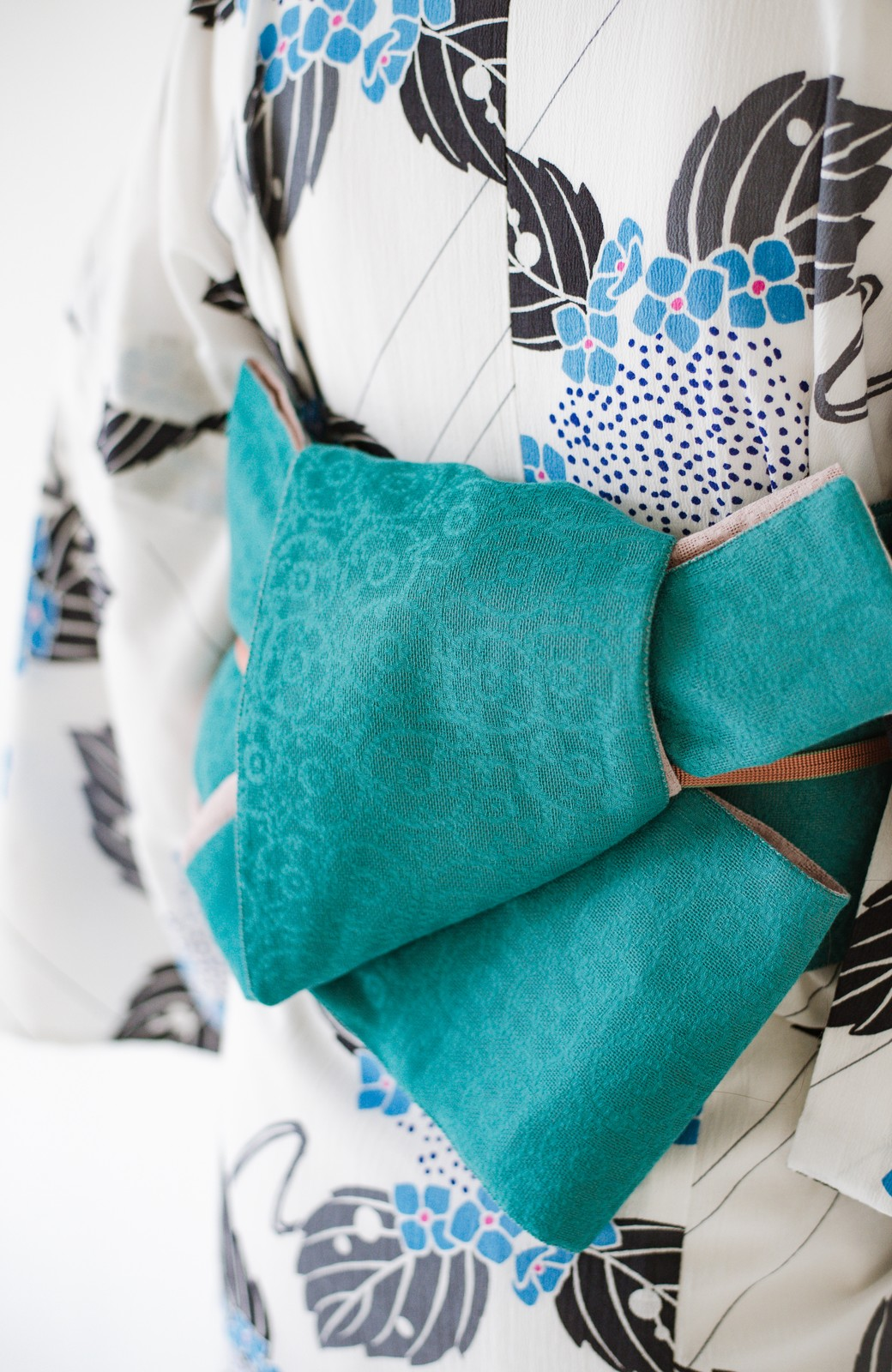 haco! ひでや工房 京都のからみ織ジャカードリバーシブル帯 <グリーン×ピンク>の商品写真4