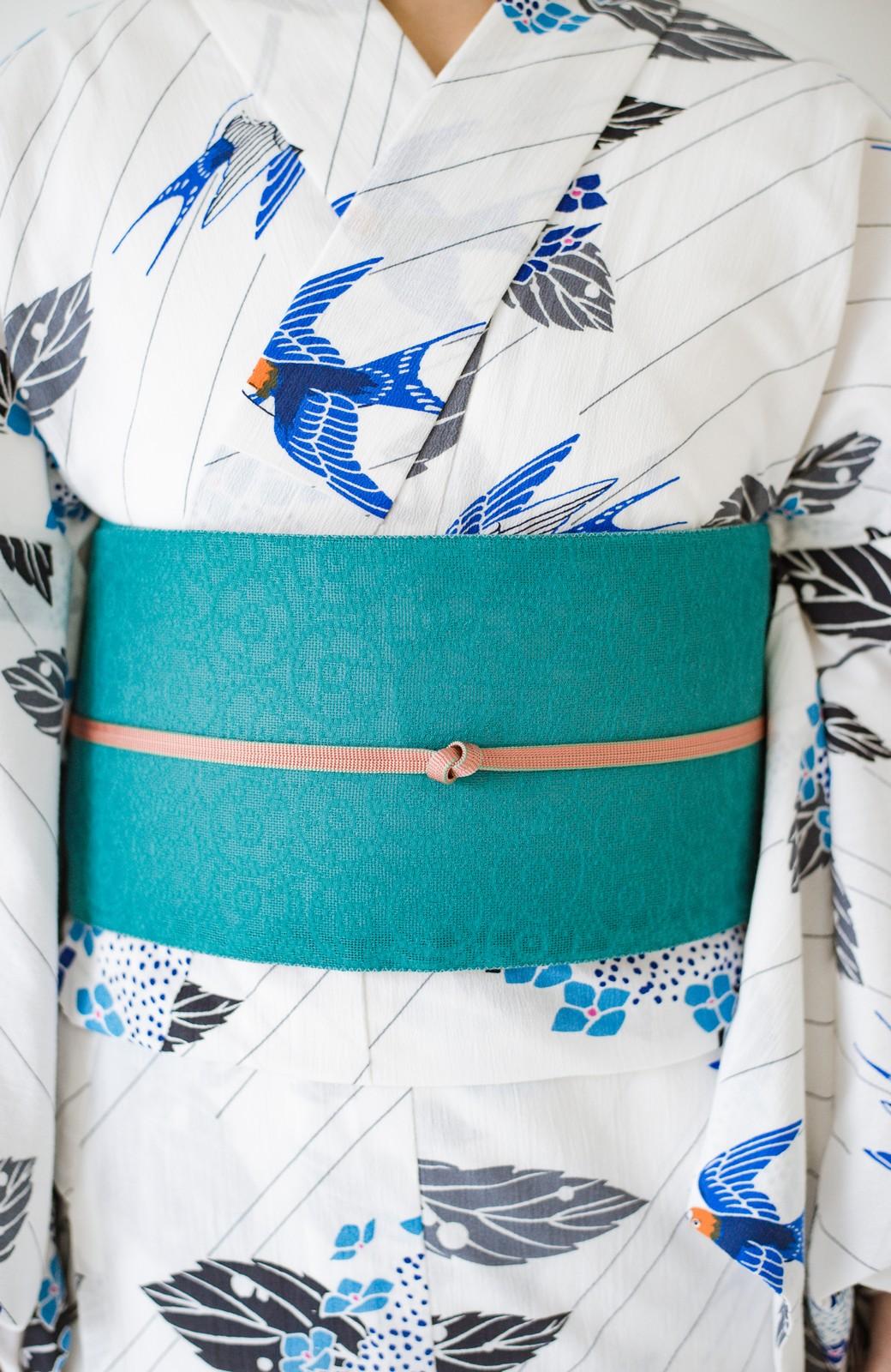 haco! ひでや工房 京都のからみ織ジャカードリバーシブル帯 <グリーン×ピンク>の商品写真6