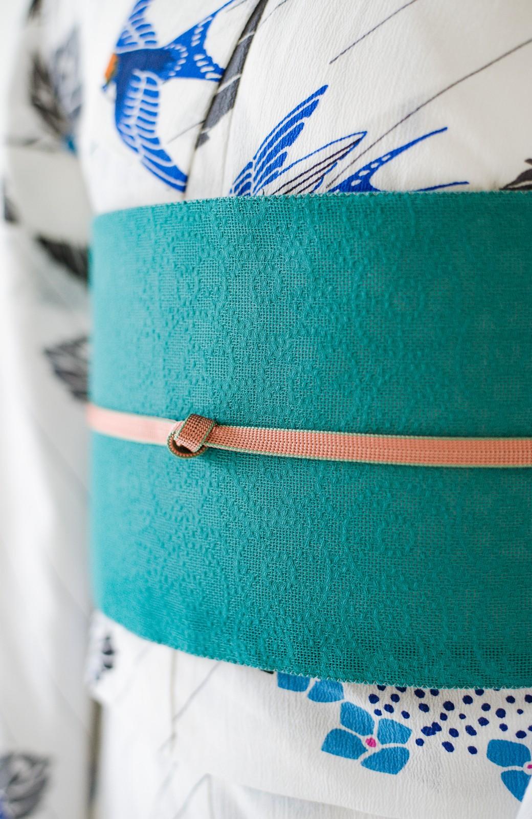 haco! ひでや工房 京都のからみ織ジャカードリバーシブル帯 <グリーン×ピンク>の商品写真7