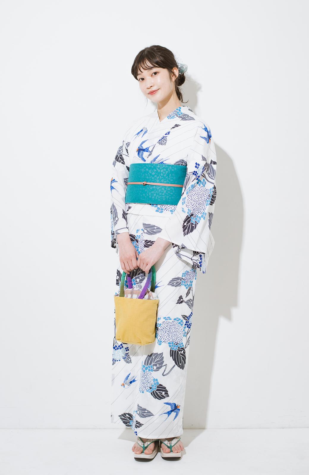 haco! ひでや工房 京都のからみ織ジャカードリバーシブル帯 <グリーン×ピンク>の商品写真8
