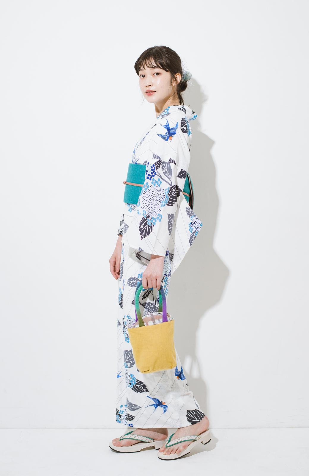 haco! ひでや工房 京都のからみ織ジャカードリバーシブル帯 <グリーン×ピンク>の商品写真9