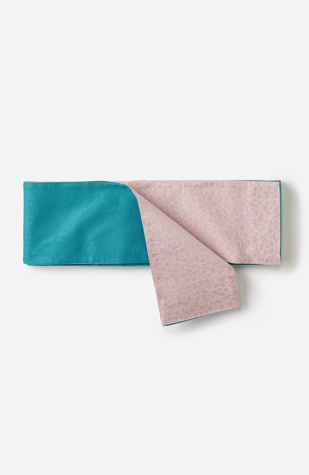 haco! ひでや工房 京都のからみ織ジャカードリバーシブル帯 <グリーン×ピンク>の商品写真2