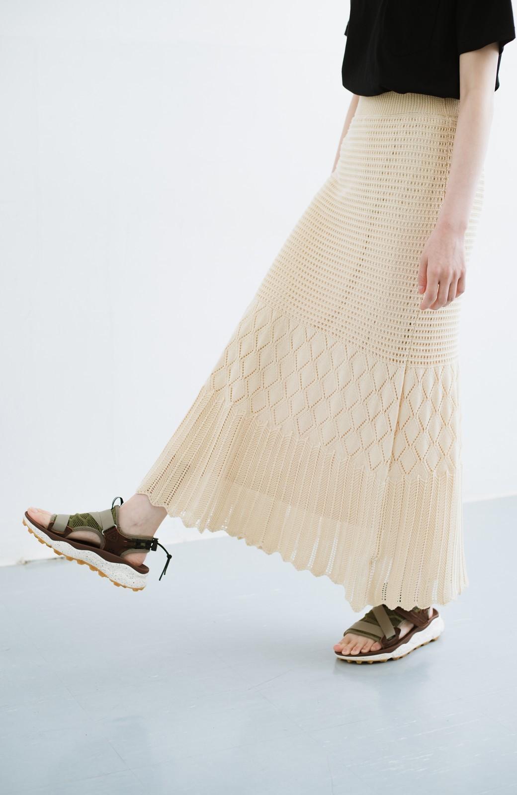 haco! 単品はもちろん重ね着してもかわいさが増す!透かし編みマーメイドスカート <アイボリー>の商品写真3