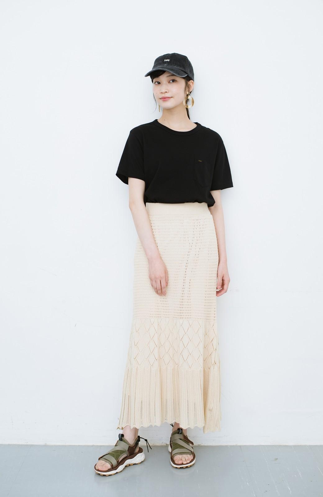haco! 単品はもちろん重ね着してもかわいさが増す!透かし編みマーメイドスカート <アイボリー>の商品写真16