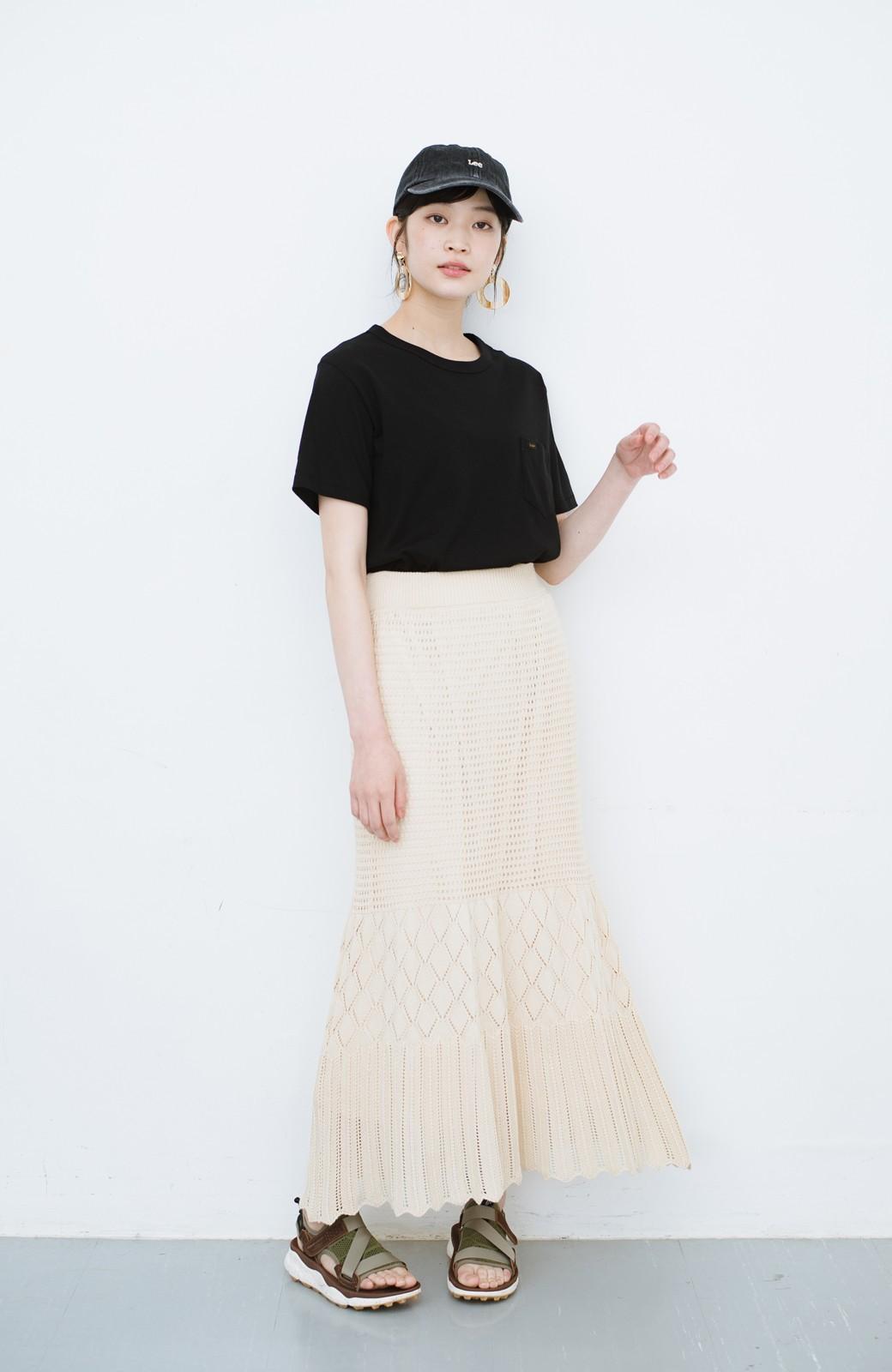 haco! 単品はもちろん重ね着してもかわいさが増す!透かし編みマーメイドスカート <アイボリー>の商品写真17