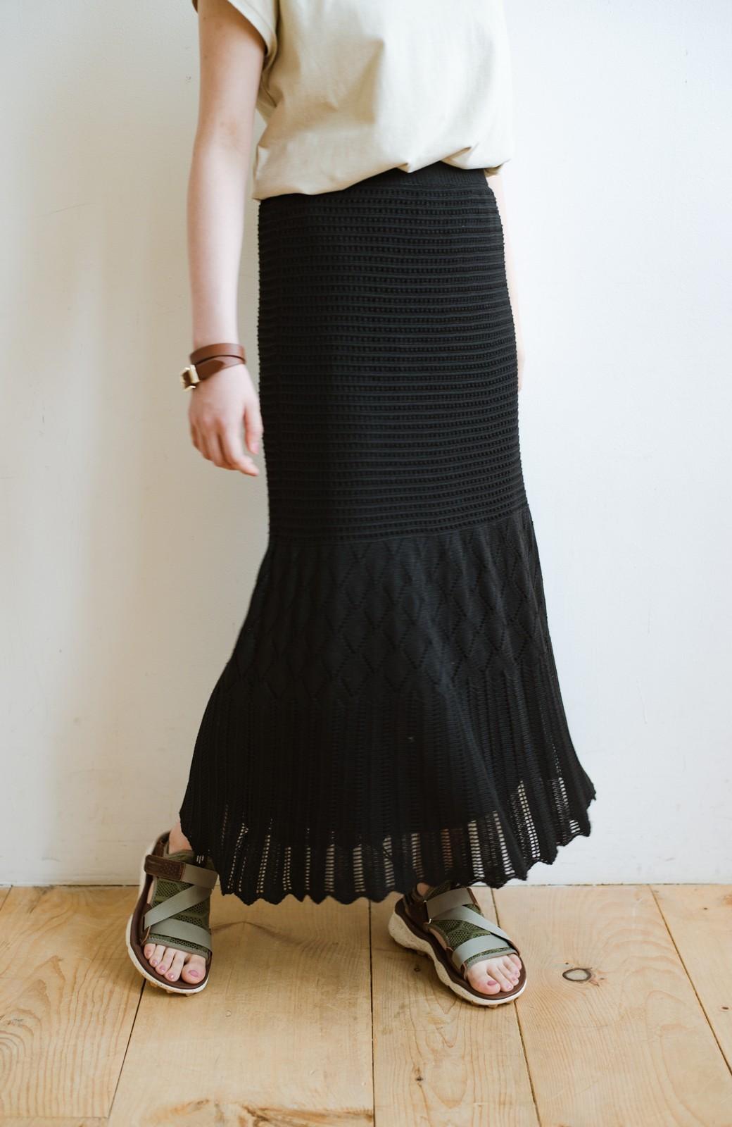 haco! 単品はもちろん重ね着してもかわいさが増す!透かし編みマーメイドスカート <ブラック>の商品写真1