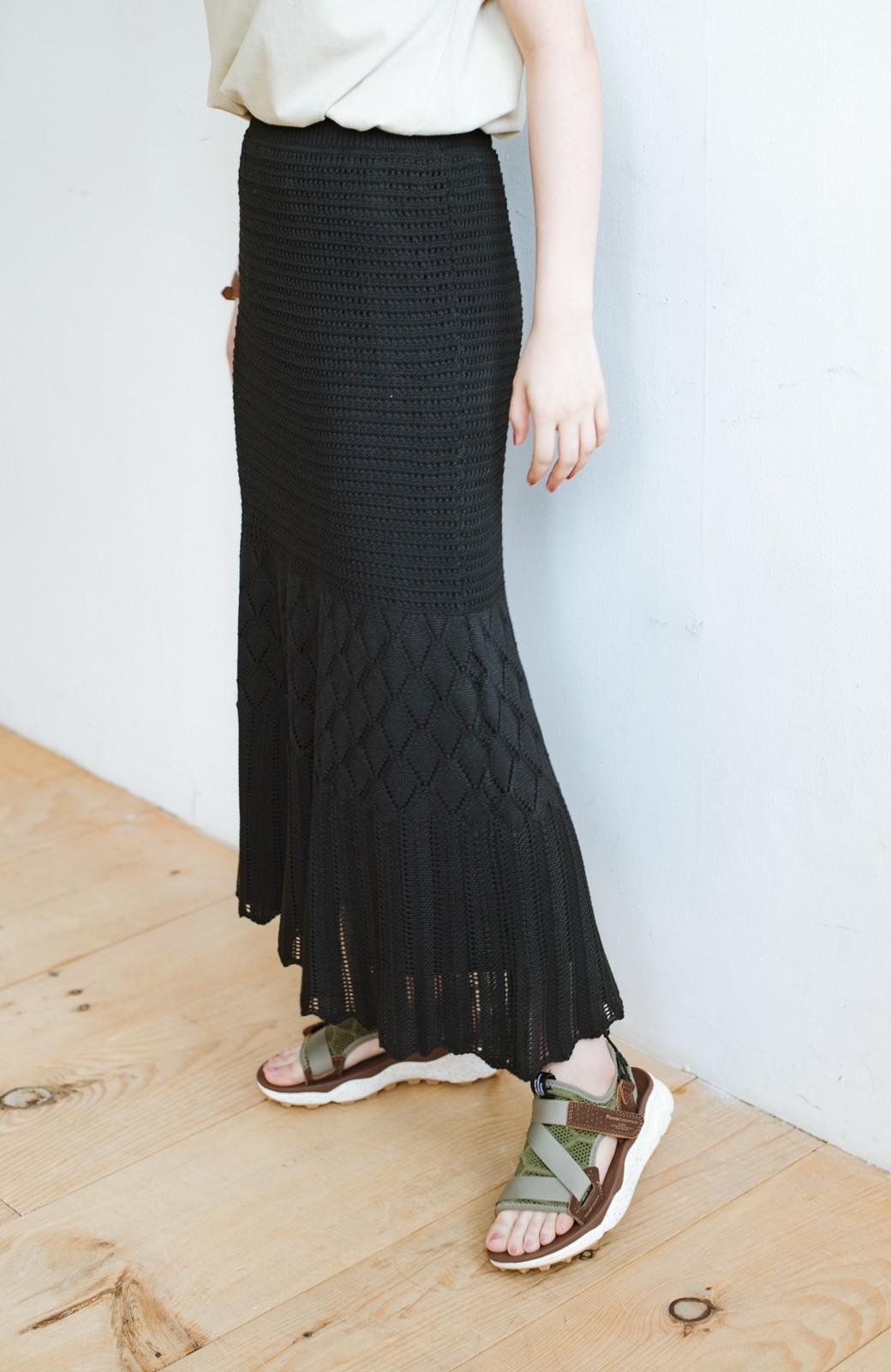 haco! 単品はもちろん重ね着してもかわいさが増す!透かし編みマーメイドスカート <ブラック>の商品写真2