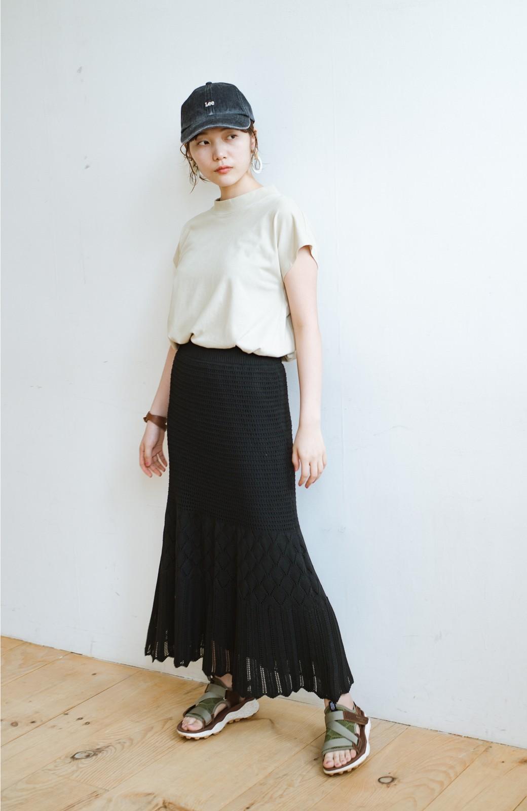 haco! 単品はもちろん重ね着してもかわいさが増す!透かし編みマーメイドスカート <ブラック>の商品写真11