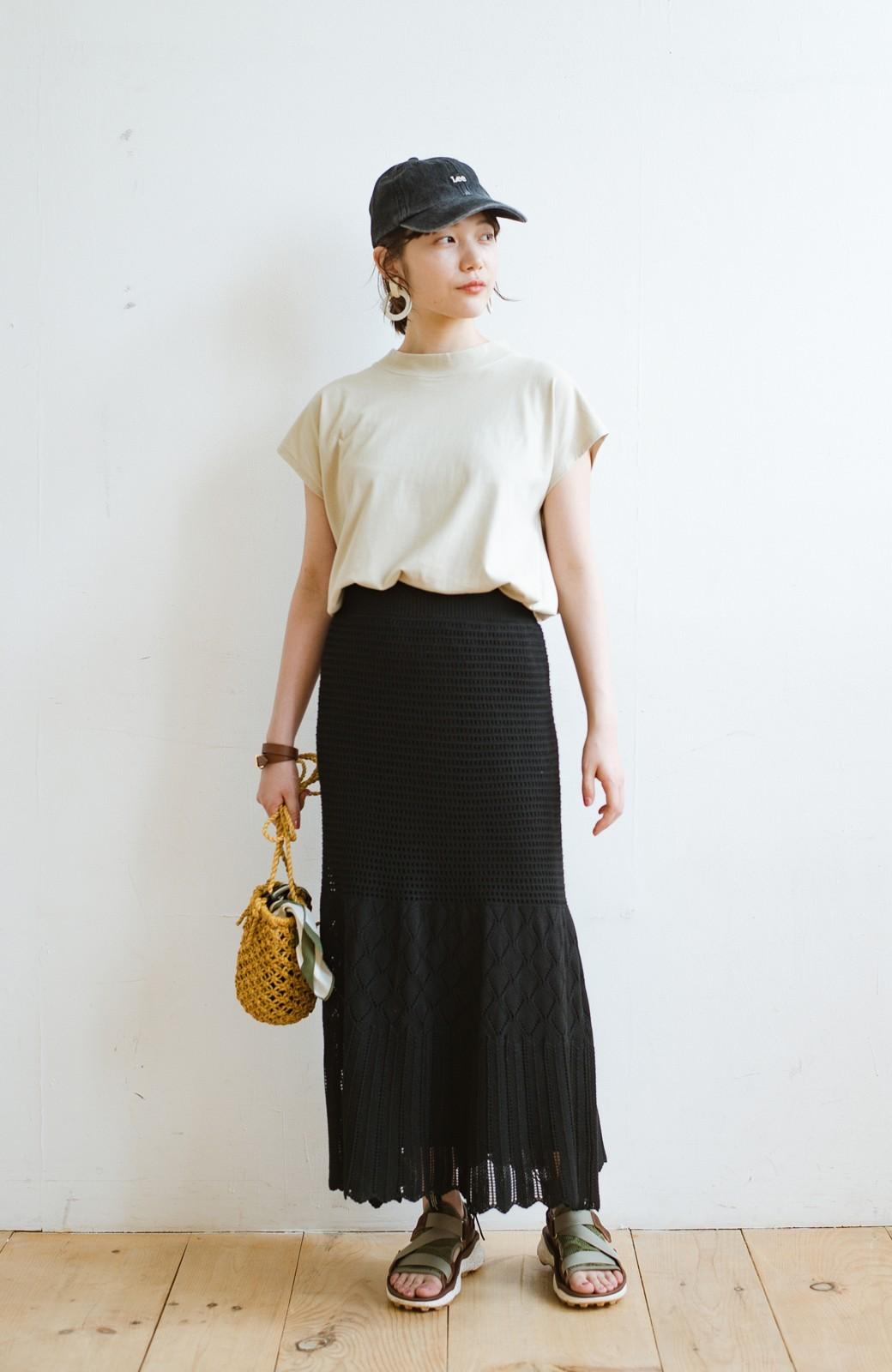 haco! 単品はもちろん重ね着してもかわいさが増す!透かし編みマーメイドスカート <ブラック>の商品写真12