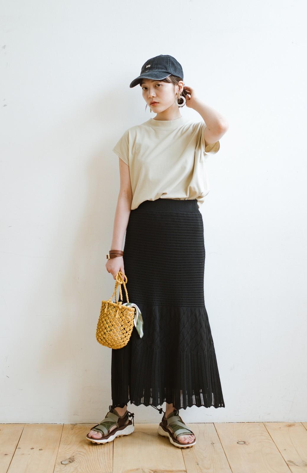 haco! 単品はもちろん重ね着してもかわいさが増す!透かし編みマーメイドスカート <ブラック>の商品写真18