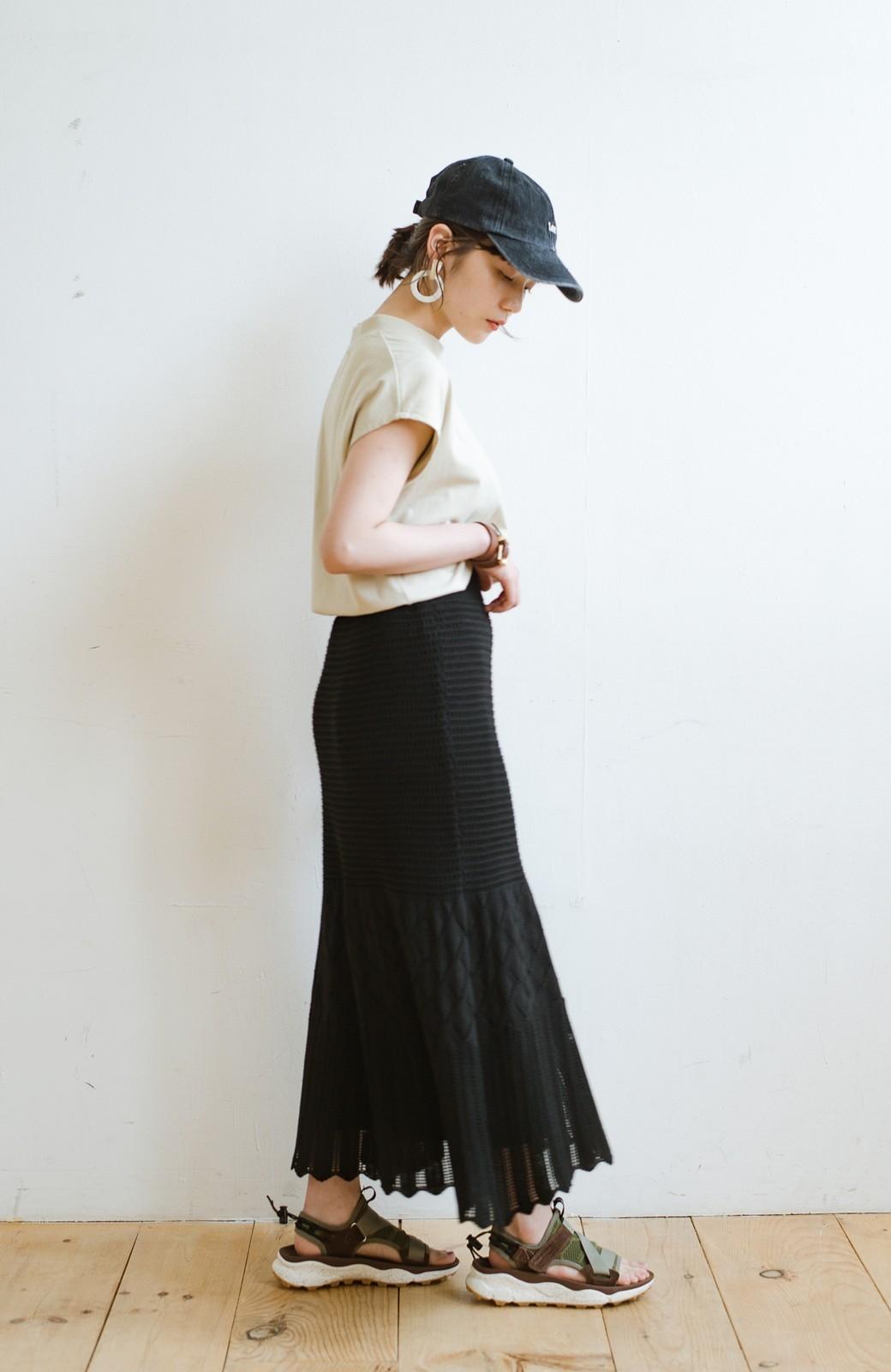 haco! 単品はもちろん重ね着してもかわいさが増す!透かし編みマーメイドスカート <ブラック>の商品写真19