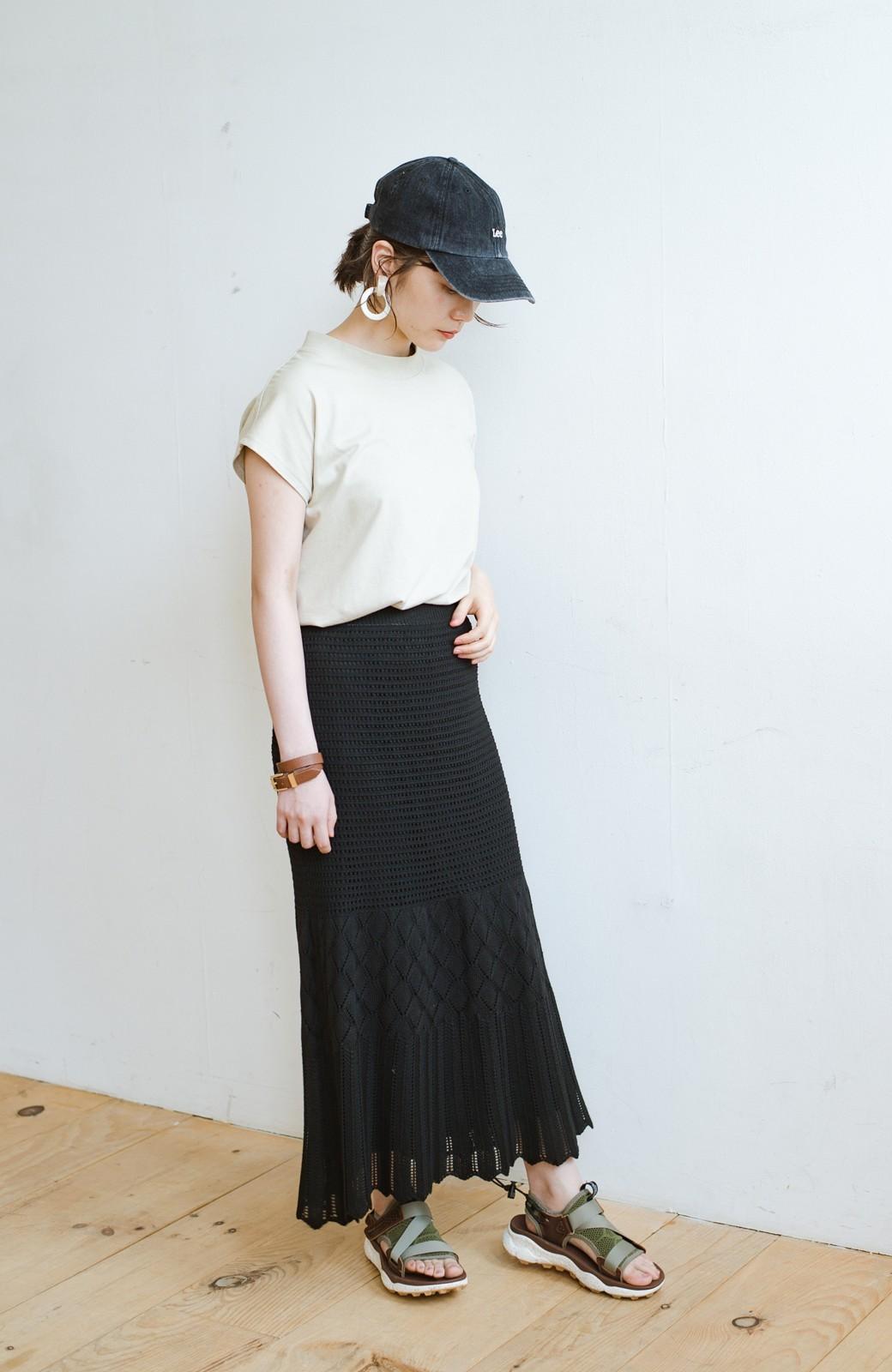 haco! 単品はもちろん重ね着してもかわいさが増す!透かし編みマーメイドスカート <ブラック>の商品写真20
