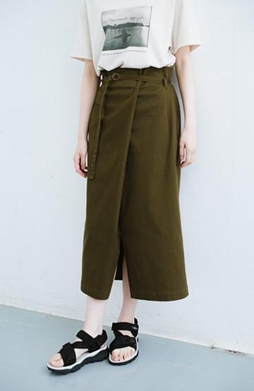 haco! 露出せずとも女っぽい すっきりシルエットが自慢のシンプルタイトスカート <カーキ>の商品写真
