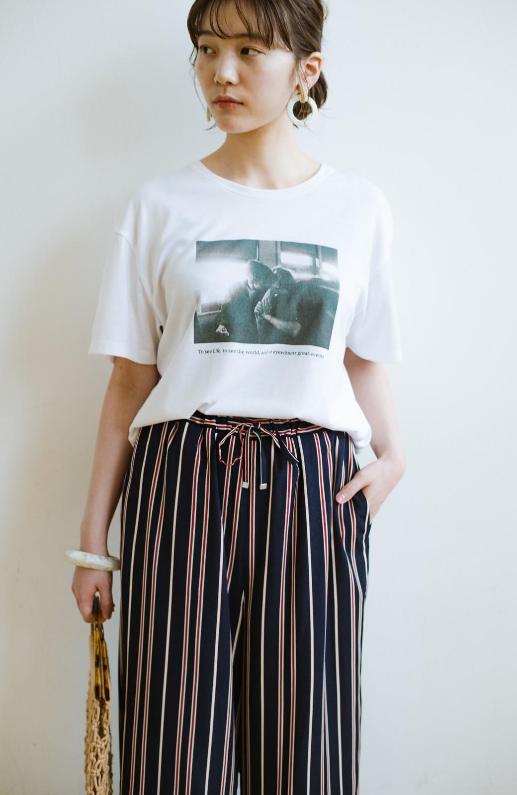 haco! パッとはくだけで着映えはもちろん 重ね着にも便利なストライプワイドパンツ <ネイビー>の商品写真3