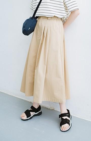 haco! 着まわしも着やせも大満足! オールシーズン使えるチノロングスカート <ベージュ>の商品写真