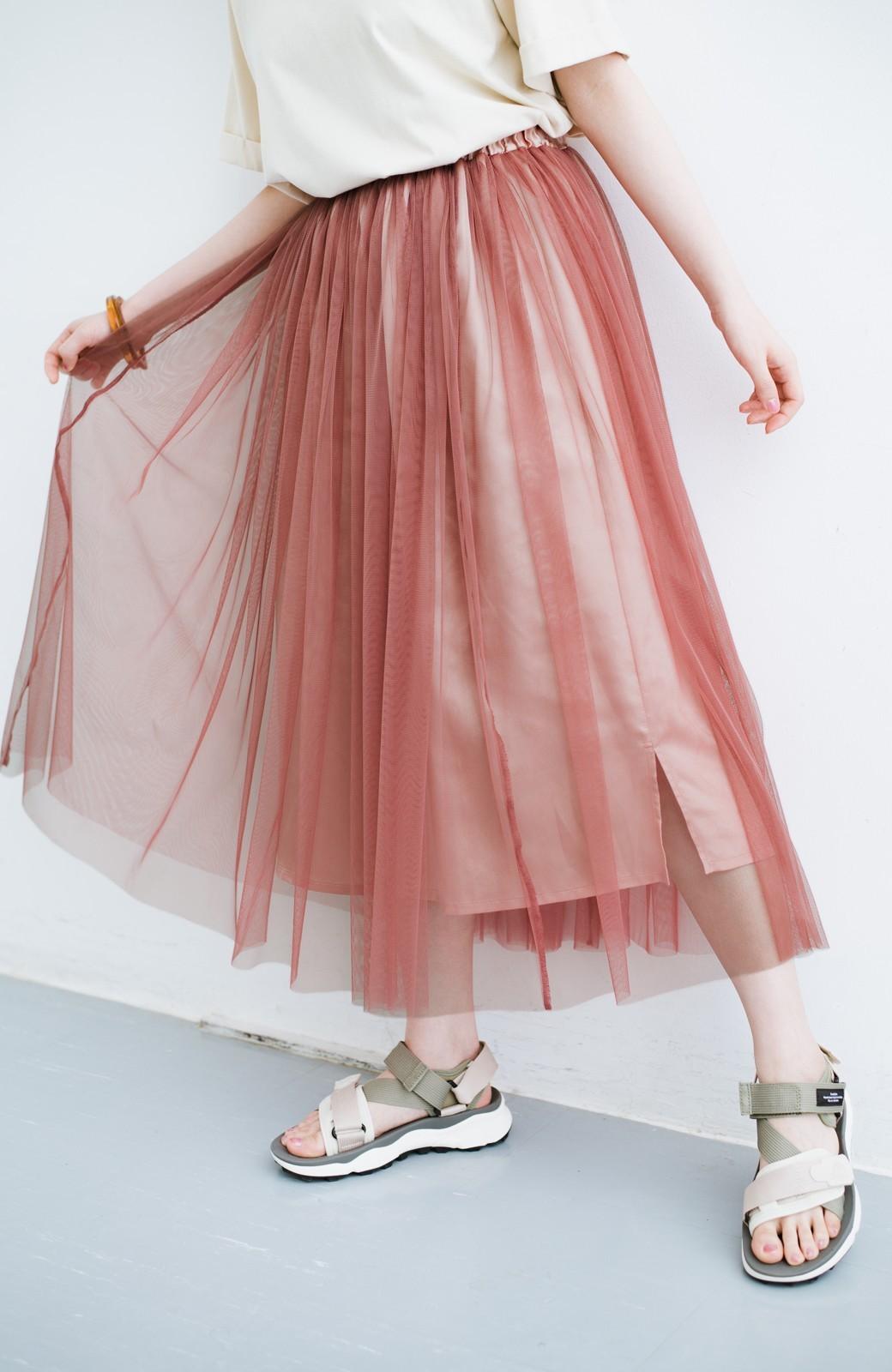 haco! 着るだけでルンとした気分になる! 長ーーい季節着られてずっと使えるオトナのためのチュールスカート <ピンク>の商品写真2
