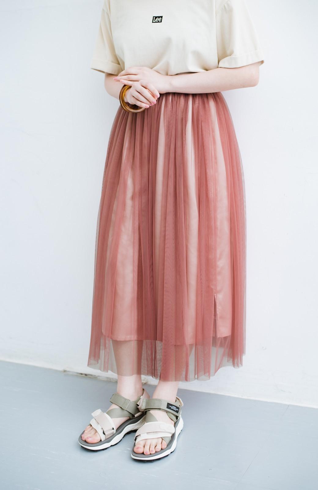 haco! 着るだけでルンとした気分になる! 長ーーい季節着られてずっと使えるオトナのためのチュールスカート <ピンク>の商品写真1
