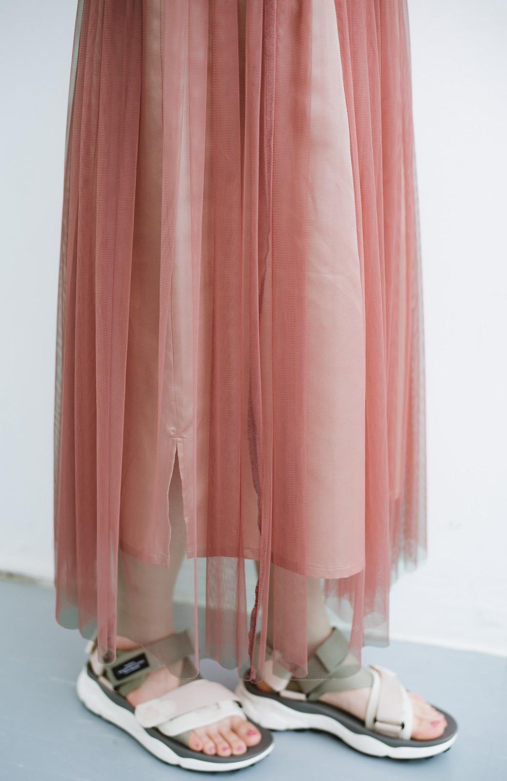 haco! 着るだけでルンとした気分になる! 長ーーい季節着られてずっと使えるオトナのためのチュールスカート <ピンク>の商品写真5