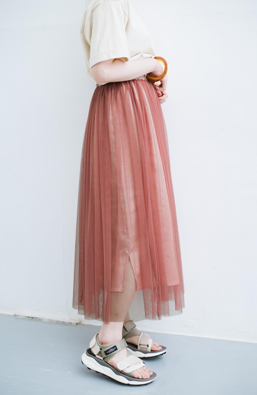 haco! 着るだけでルンとした気分になる! 長ーーい季節着られてずっと使えるオトナのためのチュールスカート <ピンク>の商品写真6