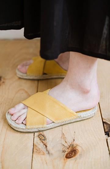 haco! hint hint 大人が気軽に履けるクロスフラットサンダル <イエロー>の商品写真
