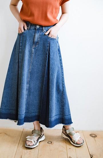 haco! 【新色登場&再入荷!】デニムパネルプリーツスカート<ブルー>の商品写真