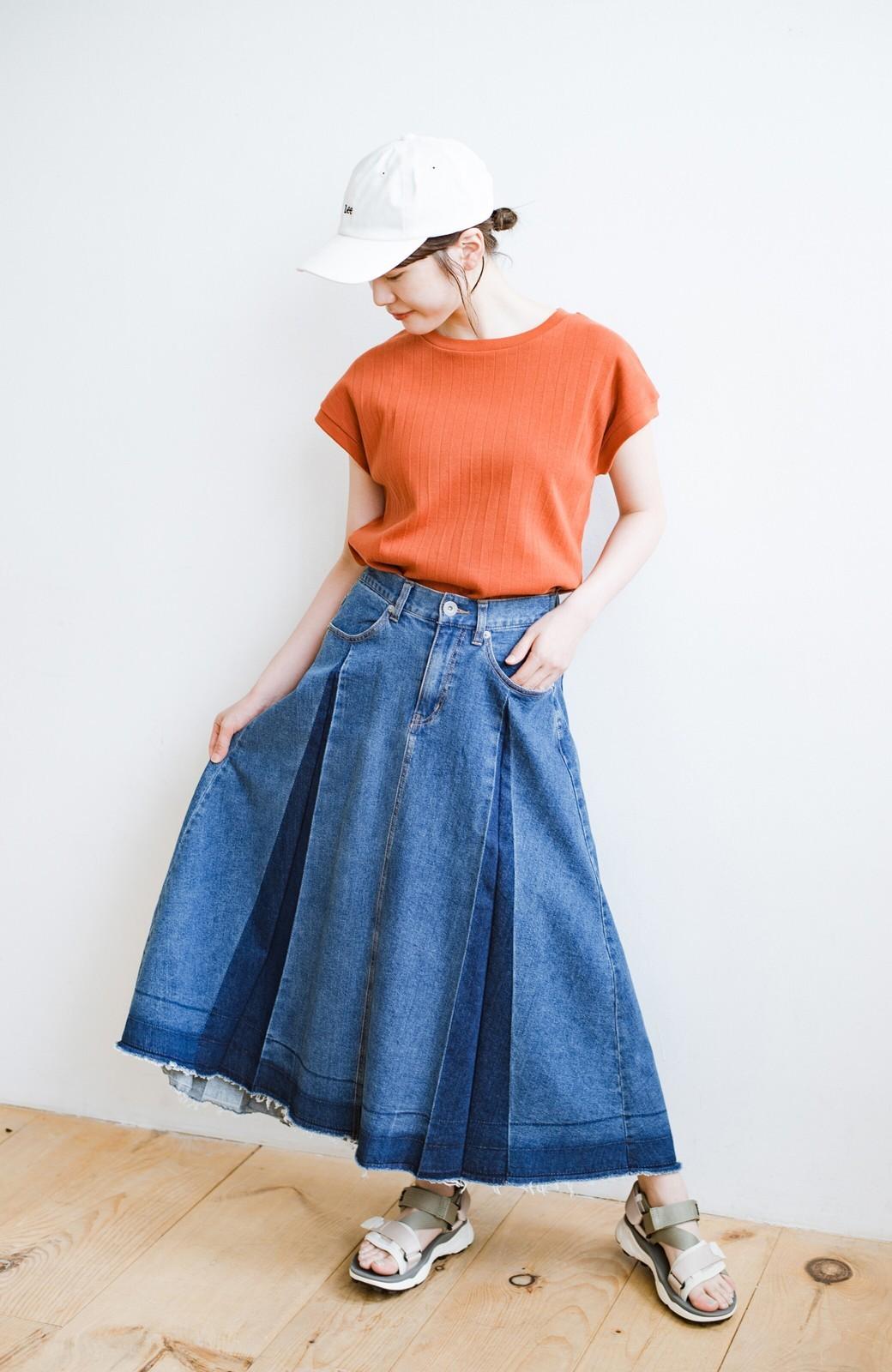 haco! 【新色登場&再入荷!】デニムパネルプリーツスカート <ブルー>の商品写真14
