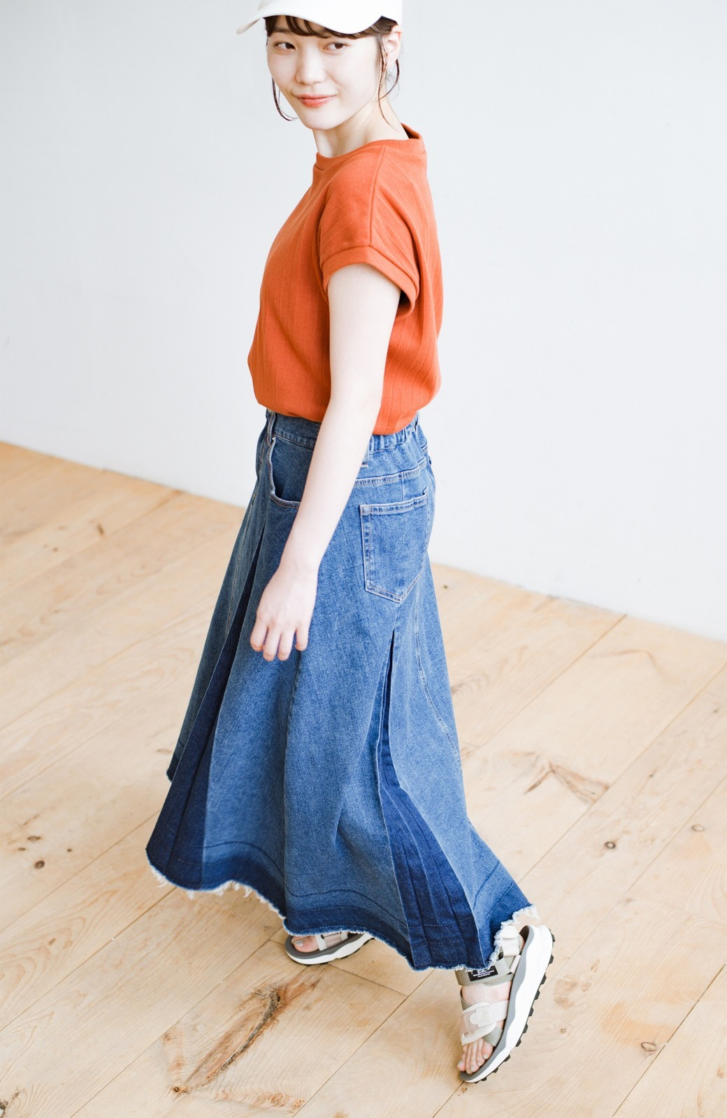 haco! 【新色登場&再入荷!】デニムパネルプリーツスカート <ブルー>の商品写真27