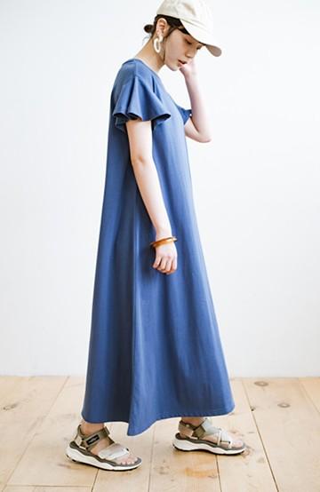 haco! 1枚で完璧シルエット!ひらりと揺れる袖がかわいい楽ちんカットソーワンピース <ブルー>の商品写真