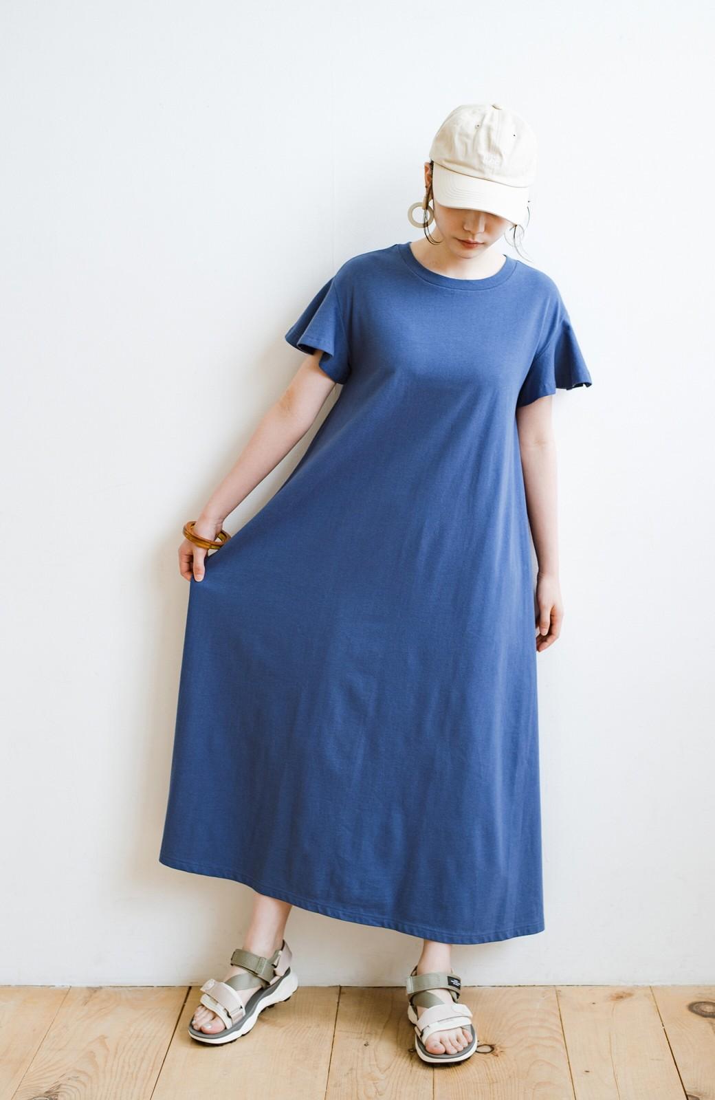 haco! 1枚で完璧シルエット!ひらりと揺れる袖がかわいい楽ちんカットソーワンピース <ブルー>の商品写真10