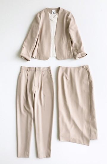 haco! いざというとき困らないための 大人のフォーマル裏地付きジャケット・パンツ・スカート3点セット by que made me <ベージュ>の商品写真