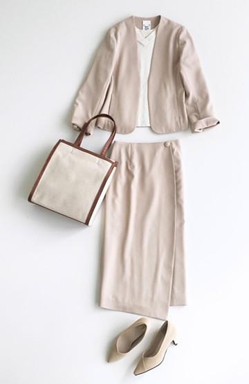 haco! いざというとき困らないための 大人のフォーマル裏地付きジャケット・スカート2点セット by que made me <ベージュ>の商品写真