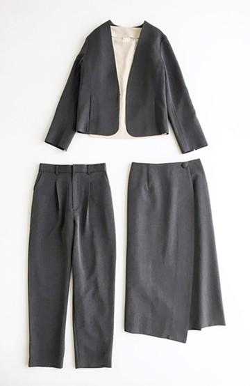 haco! いざというとき困らないための 大人のフォーマル裏地付きジャケット・パンツ・スカート3点セット by que made me <グレー>の商品写真