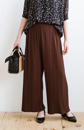 haco! パンツ派さんのデートにもカジュアル派さんの重ね着にも便利なプリーツパンツ <ダークブラウン>の商品写真