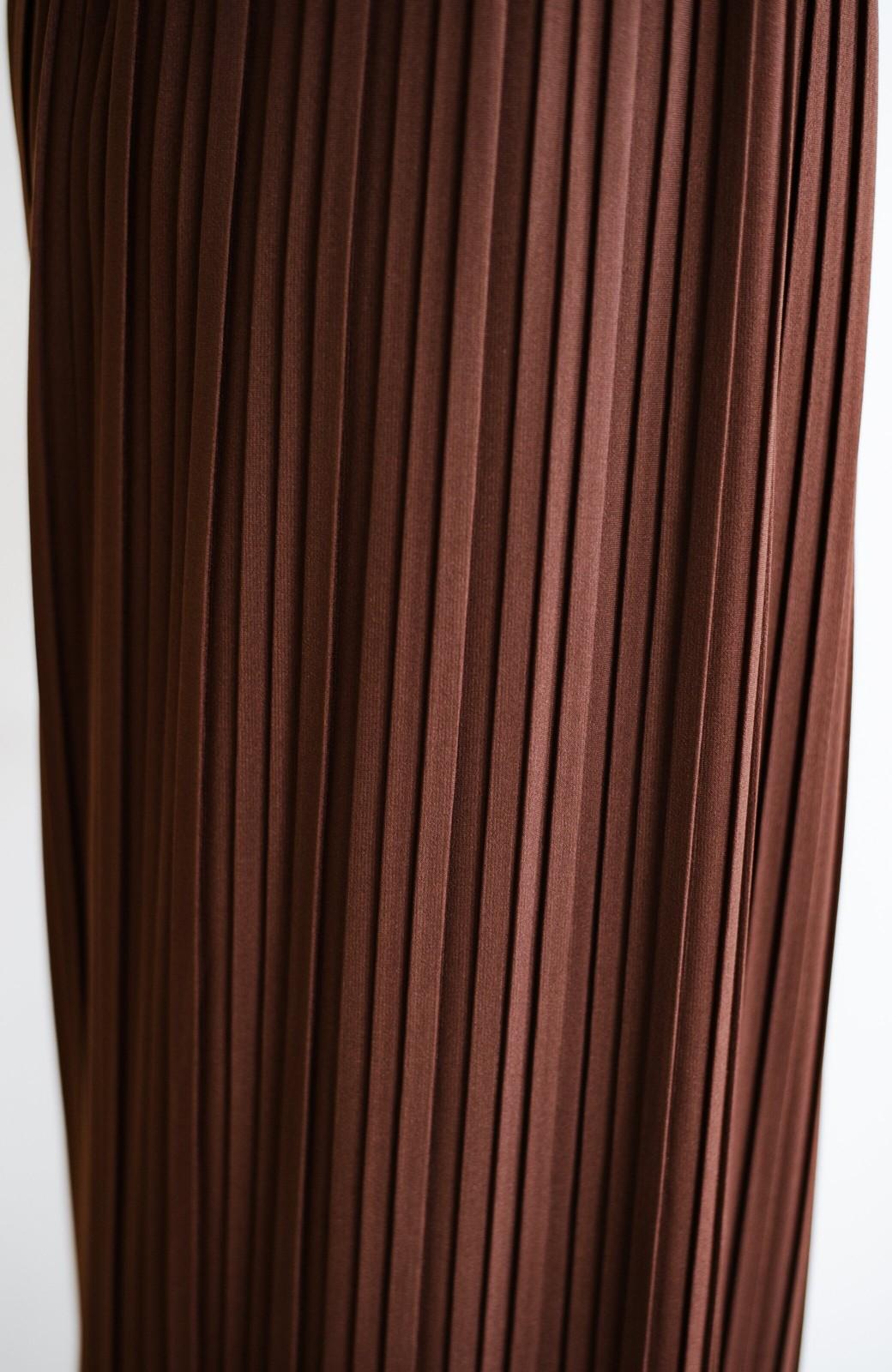 haco! パンツ派さんのデートにもカジュアル派さんの重ね着にも便利なプリーツパンツ <ダークブラウン>の商品写真4
