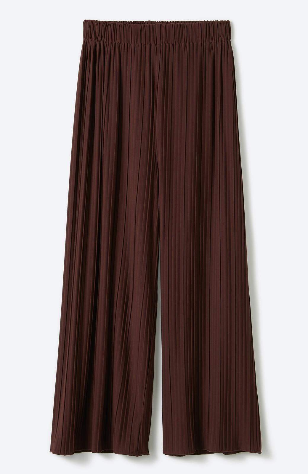 haco! パンツ派さんのデートにもカジュアル派さんの重ね着にも便利なプリーツパンツ <ダークブラウン>の商品写真17