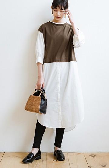 haco! 迷わず今っぽコーデ完成!1枚着るだけでベストを重ね着したみたいなシャツワンピース <ホワイト>の商品写真