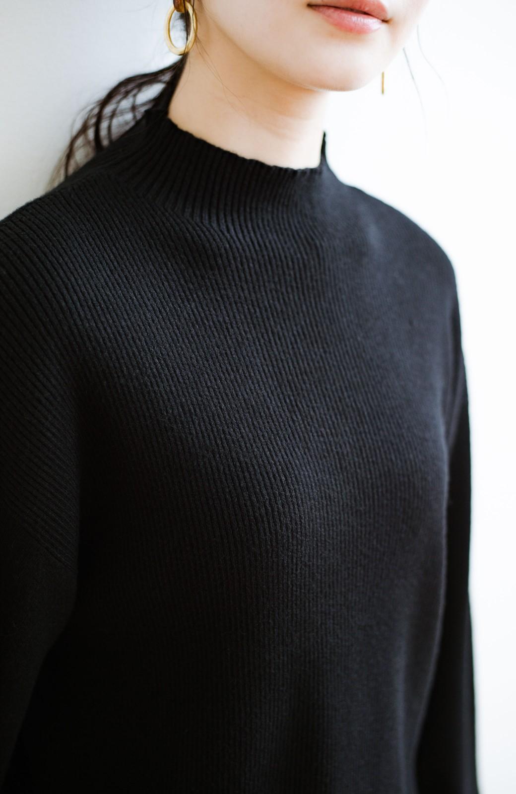haco! 気になるところをそっと隠してくれる便利なリブニット <ブラック>の商品写真3