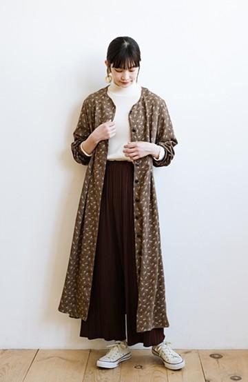 haco! パッと着て華やかさグッとアップ!羽織としても使える便利な柄ワンピース <ブラウン>の商品写真