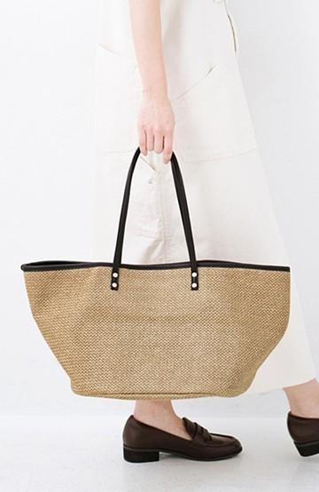haco! ピクニックにも毎日のおともにも ざっくり入って便利な大きめトートバッグ <ブラック>の商品写真