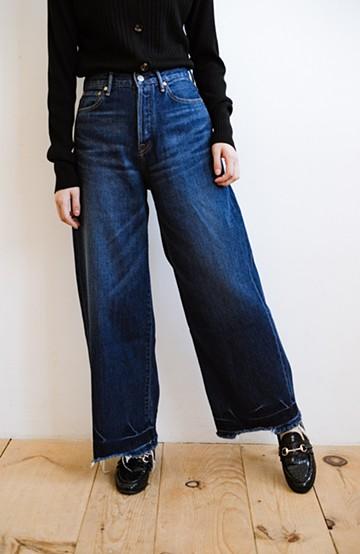 haco! Urvin [Sanda]  裾切りっぱなしデザインがかっこいいワイドデニム <ブルー>の商品写真
