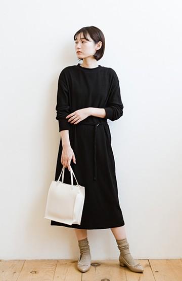 haco! 楽ちん便利な今っぽ&女っぽベルト付きカットソーリブワンピース <ブラック>の商品写真