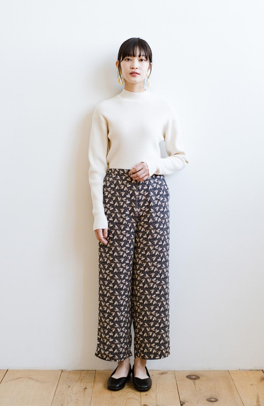 haco! 1枚でも重ね着でもパッと着映えする すっきりシルエットの大人の柄パンツ <ネイビー>の商品写真12