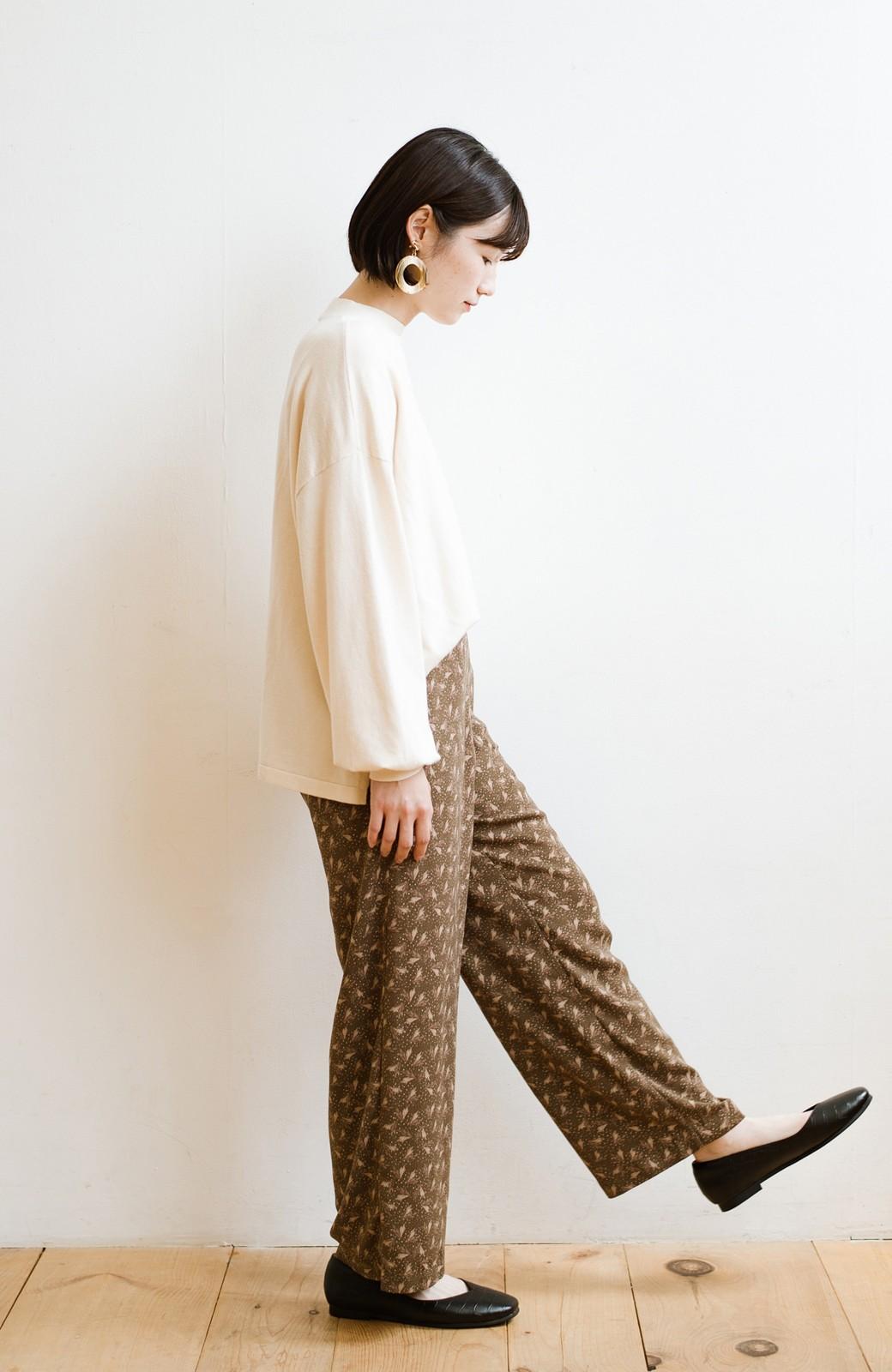 haco! 1枚でも重ね着でもパッと着映えする すっきりシルエットの大人の柄パンツ <ブラウン>の商品写真21